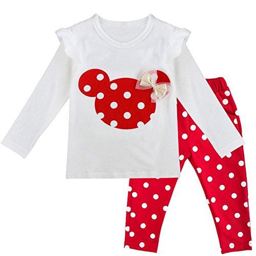 FEESHOW Ensemble Pyjama Bébé Filles Garçons Combinaisons en Coton Grenouillères T-Shirt à Manches Longues et Leggings Pantalon à Pois Tenues de Dessin Animé Vêtement Baptême Cérémonie Rouge 3 Ans