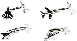 MRCUFF Jet Plane Airplane Pilot 4 Pairs Cufflinks in a Presentation Gift Box & Polishing Cloth