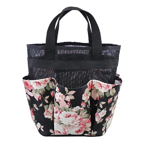 Sacs de plage en maille, sac fourre-tout léger avec poches extra larges, sac de rangement pour jouets, vacances, sport, voyage, Noir , petit,