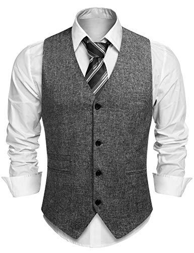 COOFANDY Weste Herren Anzugweste Ärmellose V-Ausschnitt mit 4 Knöpfen Slim Fit Leinen Business Klassisch Elegante Anzug Weste für Männer Sommer Grau XXL