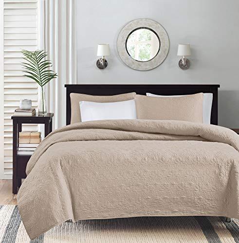 Madison Park Quebec Quilt Set-Luxurious Damask Stitching Design Leichte Tagesdecke mit Baumwollfüllung, Bettüberwurf, Polyester, Khaki, Twin XL(68