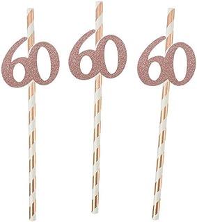 10 stks Papier Rietje met Nummer 30 40 50 60 Drink Rietje voor Verjaardag/Bruiloft Verjaardag Partij Decoratie, Gestreept 60