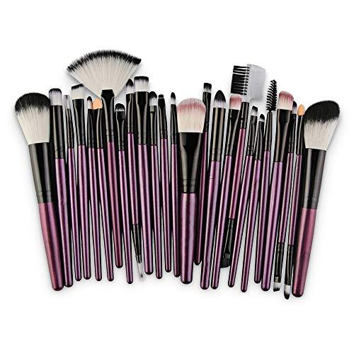 Ruiting 25 Pièces Collection de Pinceaux de Maquillage en Fibre de Haute Qualité Multifonctionnels Outils de Maquillage POURPRE