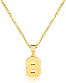 JSJOY Personalized Number Necklace for Men,Gold Number Pendant Necklaces for Boys,26 Gold Plated Capital Letter Pendant Initial Necklaces for Men Women Stainless Steel Box Chain