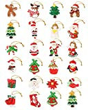 Vensovo Christmas Advent Calendar Tree Ornaments - 24 Pcs Christmas resinous Crafts Ornaments, Winter Holiday Tree Hanging Decorations, Snowman Santa Angel Reindeer Penguin Doll Hanging Decor