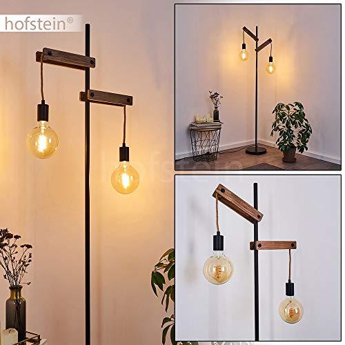 Staande lamp Aarhus houten touw metaal zwart 150 cm hoog vintage woonkamerlamp met schakelaar op kabel voor 2 x E27 max. 60 watt, compatibel met leds.