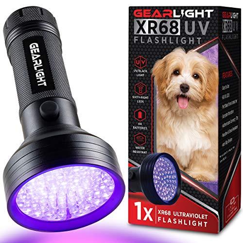 GearLight UV Black Light Flashlight XR68 - Powerful 68 LED Blacklight Flashlights for Pet Urine Detection, Scorpion, Bed Bug, Resin Curing, Dog Stain, and Carpet Odor Eliminator Remover