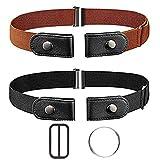 Kuou - Cinturón elástico sin hebilla para mujer, cinturón elástico para mujer y hombre, pantalones vaqueros