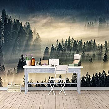 SIGNFORD Wall Mural Misty Forest Removable Wallpaper Wall Sticker for Bedroom Living Room - 100x144 inches