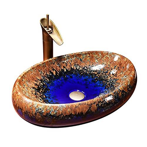 Små Handfat Oval Badrumsbassäng Kök Bänkskivan Garderob Bänkskåp För Badrum Keramisk Handfat Tvätta Handfat Retro 55cm * 37cm * 14cm