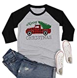 MYHALF Plus Size Merry Christmas Shirts Women's Cute Truck Tree Print T-Shirts 3/4 Sleeve Raglan Baseball Tee Tops Gray