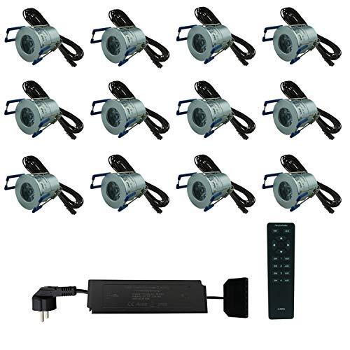 LED Außenbeleuchtung dimmbar wasserdicht IP65 Komplettset 12x2Watt Minispot warmweiß für Terrassen Carport Wintergarten geringe Einbautiefe für Aluminiumprofile