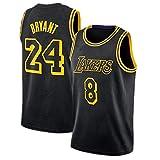 8# + 24# Camiseta De Baloncesto De Kobe Bryant, Camiseta De Los Lakers Y Sudadera Cortavientos De Cuello Redondo De Secado Rápido con El Nombre Y Número del Equipo Black-L