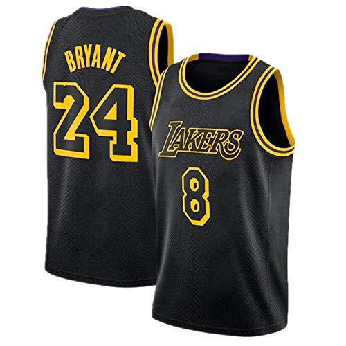 LYDY 8# + 24# Kobe EDICIÓN Especial Jersey de Baloncesto, Uniforme de Laker y Secado rápido de Ropa Deportiva Sudadera de Cuello Redondo Cosido con Nombre del Equipo y Black-XXL