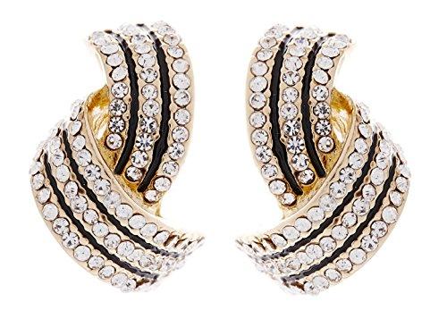 Boucles d'oreilles clips - clip or sur boucles d'oreilles avec cristaux clairs et émail noir - Camila par Bello London