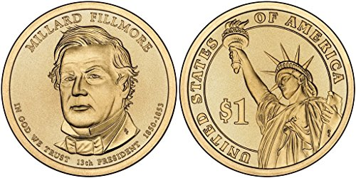 2010 D Millard Fillmore, 25-coin Bankroll of Presidential Dollars Uncirculated