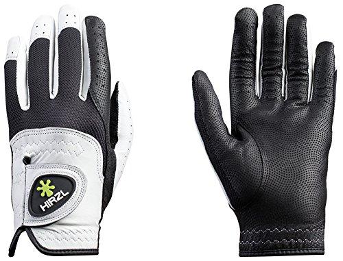 Hirzl Trust Control 2.0 Golf Gloves Mens Left Hand Glove(Right Handed Golfer) Size Cadet Medium Large Kangaroo Leather Best Grip Longest Lasting - White / Black