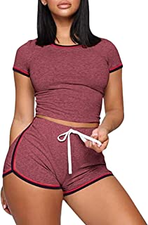 2 Piece Shorts Set for Women - Summer Outfits Sexy Crop Tops + Biker Shorts Tracksuit Set