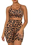 Aleumdr Women's Leopard Print Workout Sets 2 Piece Seamless Slim Fit Yoga Clothing Outfits Set Leopard Small 4 6