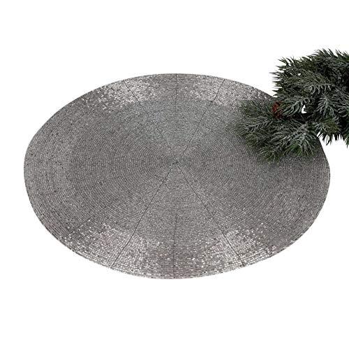 formano Platzset, Tischset, Untersetzer PERLEN Kunststoff Silber rund D. 35cm