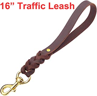 Fairwin Leather Short Dog Leash 12 Inch / 16 Inch - Short Dog Traffic Lead Leash for Large Dogs Training and Walking