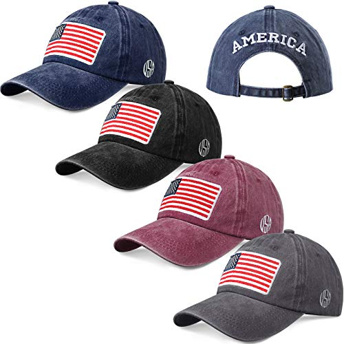 Geyoga 4 Pieces American Flag Baseball Caps USA Flag Tactical Cap Patriotic Flag Pride Caps Washed Distressed Cotton US Flag Hats for Men Women Teens