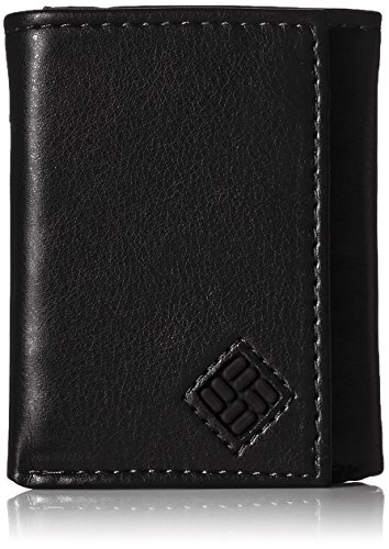 Columbia Men's RFID Leather Wallet - Big Skinny Trifold Vertical Security Protection Credit Card Slots and ID Window,Newberry Black
