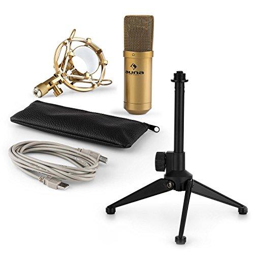 auna MIC-900G - USB Mikrofon-Set V1, Kondensatormikrofon + Mikrofon-Tischständer, Nierencharakteristik, USB, Plug & Play, perfekte Haltteeigenschaft, Höhenverstellbar, rutschfest, gold