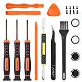 Repair Kit for xbox one, xbox 360, Jorest 22pcs kit with T6 T8 T10 Torx Security Screwdriver, Crowbars, Tweezers, Brush, Grip Caps, Screws, Cleaning Tool for Xbox one/ 360 Controller and Console