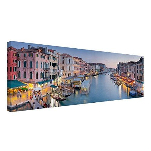 Bilderwelten Leinwandbild - Abendstimmung auf Canal Grande in Venedig - Panorama, 60 x 180cm