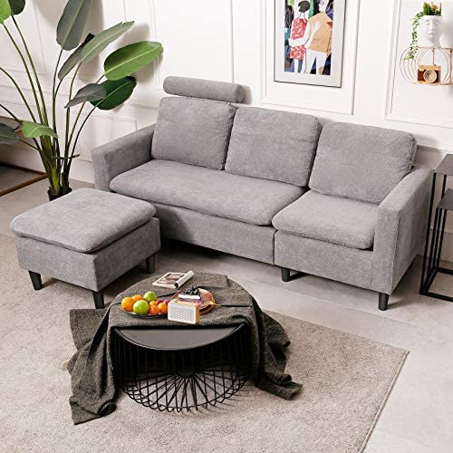 Viewee Convertible Sectional Sofa Couch Modern Minimalistic L Shaped Couch Solid Wood and High product image