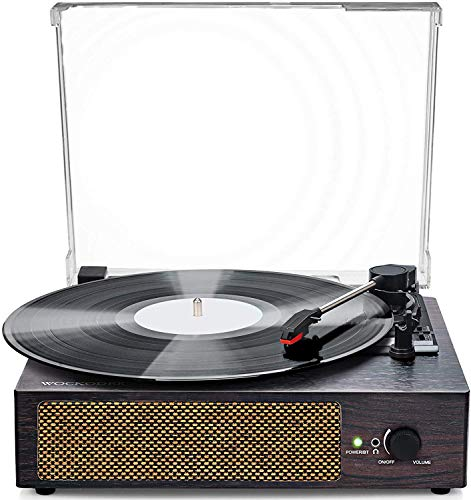 Reproductor de discos de vinilo giratorio inalámbrico LP portátil con altavoces incorporados, reproductor de grabación de 3 velocidades