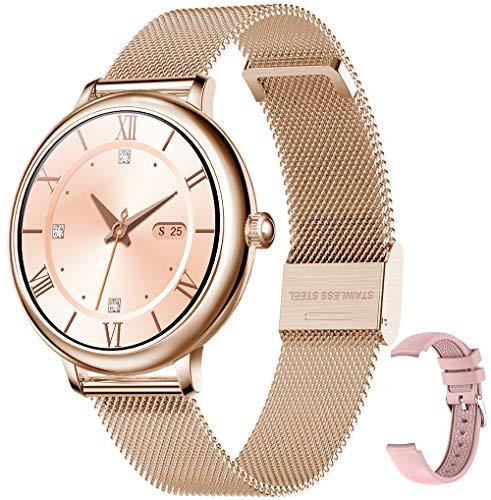 Bengux Smartwatch Mujer, Reloj Inteligente Impermeable IP68 con Smart Watch Monitor de Sueño Pulsómetros Cronómetros Contador de Caloría,Control de Musica, iOS y Android Oro Rosa