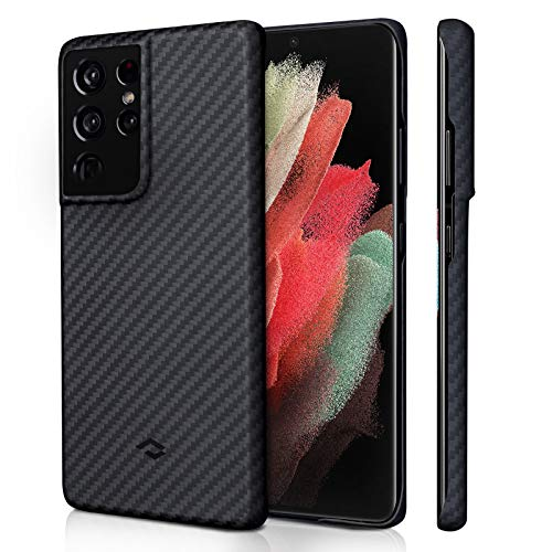 PITAKA Magnetic Case for Samsung Galaxy S21 Ultra 6.8 Inch MagEZ Case Durable Slim Soft-Textured Scratch-Free Surface Galaxy S21 Ultra Aramid Fiber Case Compatible with Magnetic Wireless Charger