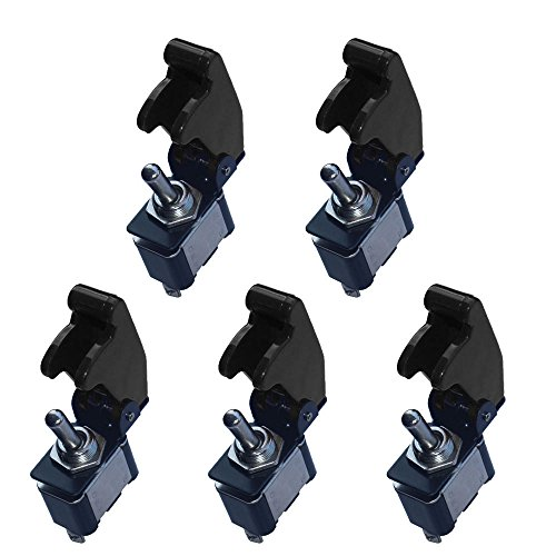 ESUPPORT 12V 20A Black Cover Rocker Toggle Switch SPST ON/Off Car Truck Boat 2Pin Pack of 5