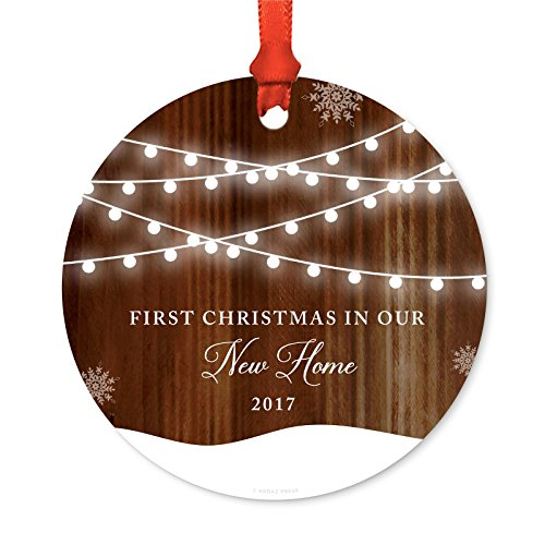 Andaz Press Custom Year Metal Christmas Ornament, First Christmas in Our New Home 2020, Rustic Wood Snow Shining Ball Lights, 1-Pack, Includes Ribbon and Gift Bag