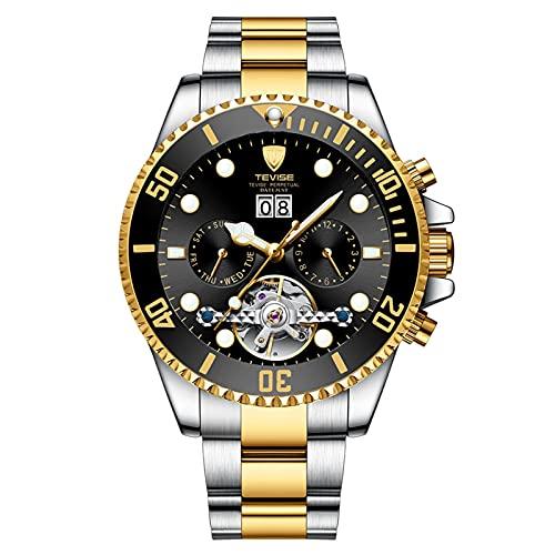 JTTM Moda Business Hombres Automático Mecánico Tourbillon Relojes De Pulsera Acero Inoxidable Correa Luminoso Puntero Calendario Multifunción,Between Gold and Black