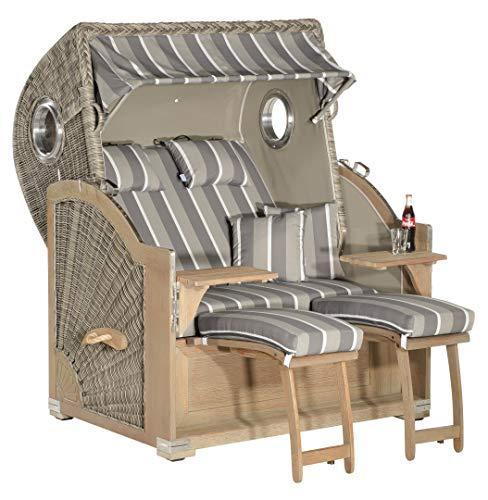 Sonnenpartner Strandkorb Rustikal 500 Plus Comfort 2 Sitzer XL Sunny Smart 3/4 Lieger