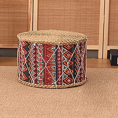 BHBXZZDB Ottoman Footstool, Japanese Straw Round Stool Futon Tatami Changing Shoes Foot Stool Sofa Stools Small Bench H 7.87In,B