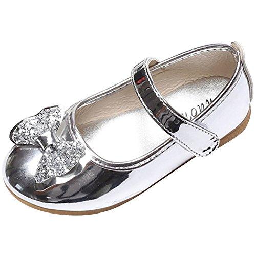 wealsex Ballerines Scratch Cuir Vernis Nœud Paillette Fille Chaussure Princesse Cérémonie Mariage Ecole Mary Janes