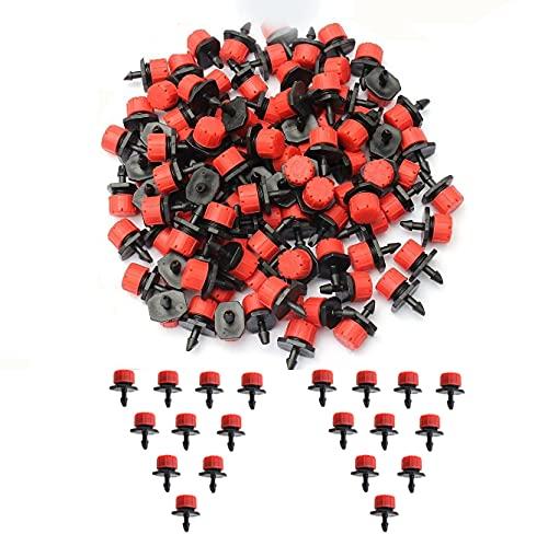 RoCetysell 100 Piezas de Sistema de microirrigación Ajustable de 1/4 Pulgada riego riego riego Anti-obstrucción gotero gotero Suministros de jardinería