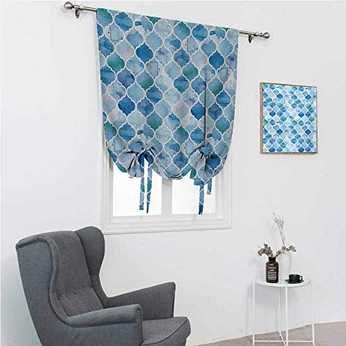 GugeABC Living Room Curtains Moroccan Roman Blinds for Window Oriental Style Arabic Mosaic Pattern in Watercolor Paint Retro Style Artwork Print 30' Wide by 64' Long Pale Blue