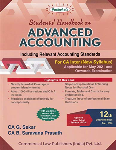 Padhuka's Student's Handbook On Advanced Accounting Including Relevant Accounting Standards For Ca Inter (New Syllabus) - 12/Edition, 2020