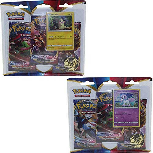 Pokemon TCG Card Game New Sword and Shield Both 3-Booster Pack Blister Sets