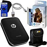 HP Sprocket Photo Printer, Print Social Media Photos on 2x3 Sticky-Backed Paper (Black) + Photo Paper (60 Sheets) + Protective Case + USB Cable + HeroFiber Gentle Cleaning Cloth