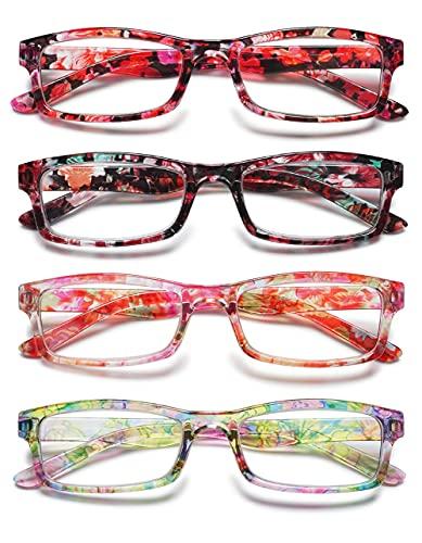 KOOSUFA Lesebrille Damen Blumen Qualität Rechteckige Anti Müdigkeit Brille Lesehilfe Sehhilfe Retro Designer Mode Vollrandbrille mit Stärke 1.0 1.5 2.0 2.5 3.0 3.5 4.0 (4 Farben Set, 3.5)
