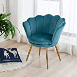 Wahson Sillón Lounge Terciopelo con Patas de Metal Chapadas en Oro, Butacas de Salón para Dormitorio/Tocador/Recepción (Azul)