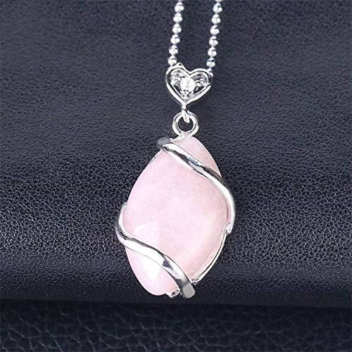 Collar De Piedras Mujeres Hombres,Elegante Y Delicado Colgante De Cristal Rosa Con Forma De Lágrima De Piedra Natural Alambre De Plata Cadena De Ojo De Caballo Amuleto De Equilibrio Energético