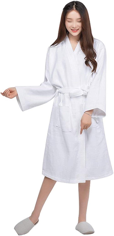 HONGNA Cotton Waffle Kimono Collar Bathrobe Soft and Breathable SweatAbsorbent Luxury Hotel Bathrobe (color   White, Size   OneSize)