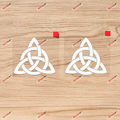 Triquetra Celtic Trinity Knot Symbol Vinyl Decal Sticker - 2 Pack White, 3 Inches - for Car Laptop Window Phone